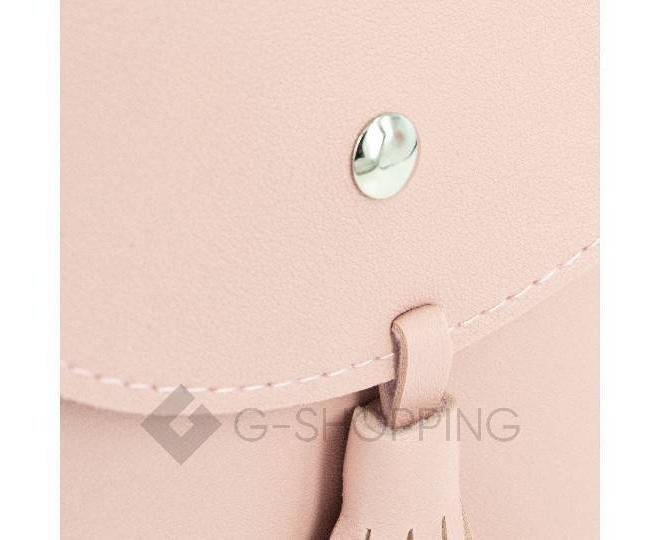 Женская маленькая розовая сумка на магнитной кнопке C097, фото 6