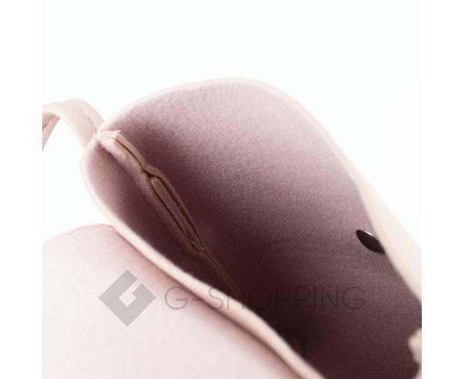 Женская маленькая розовая сумка на магнитной кнопке C097, фото 8