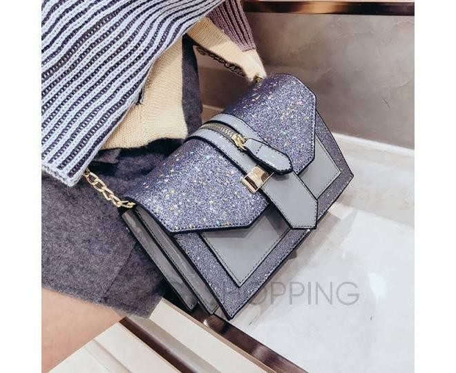Женская серебристая сумка кросс-боди на цепочке с поворотным замком C100-23, фото 3
