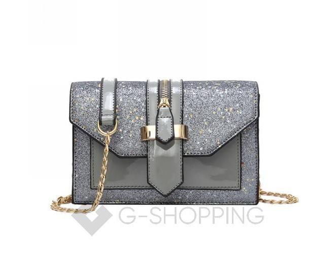 Женская серебристая сумка кросс-боди на цепочке с поворотным замком C100-23, фото 1