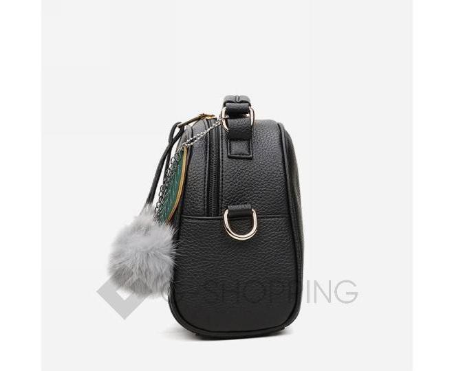Женская квадратная черная сумочка из экокожи с меховым брелком, фото 4