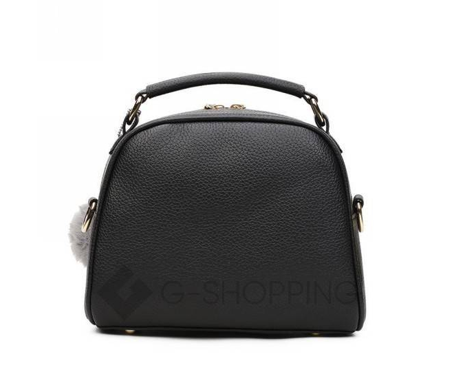 Женская квадратная черная сумочка из экокожи с меховым брелком, фото 5