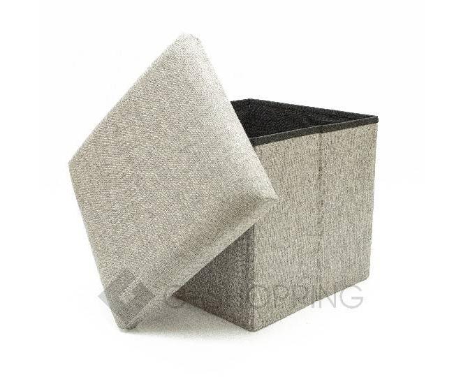 Стильный серый квадратный табурет с ящиком для хранения RYP57-23-30 30х30, фото 2