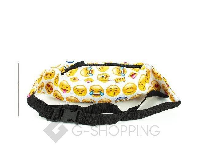 Поясная текстильная белая сумка на молнии с ярким принтом C123-18 Kingth Goldn, фото 8