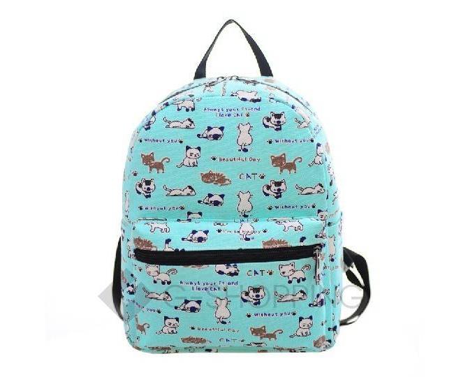 Рюкзак женский из плотного текстиля с принтом голубой, фото 1
