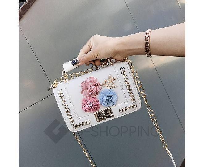 Женская белая сумка кросс-боди на цепочке с поворотным замком Kingth Goldn, фото 5