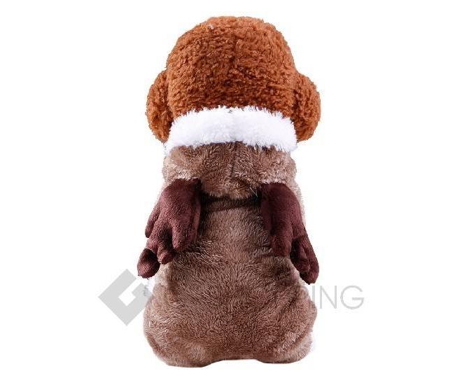 Двухслойный флисовый коричневый комбинезон для собак мелких пород P0008-26-M, фото 2