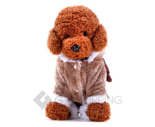 Двухслойный флисовый коричневый комбинезон для собак мелких пород P0008-26-L, фото 3