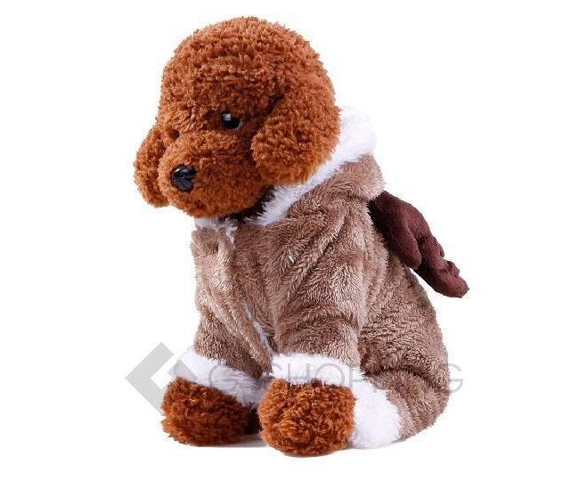 Двухслойный флисовый коричневый комбинезон для собак мелких пород P0008-26-M, фото 4