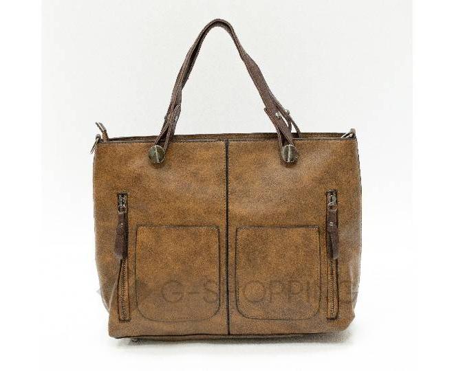 Женская повседневная коричневая сумка на молнии C103-26, фото 4