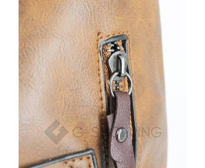 Женская повседневная коричневая сумка на молнии C103-26, фото 8