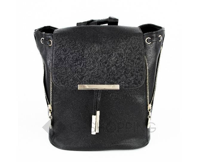 Женский рюкзак из экокожи черный C107-01 Kingth Goldn, фото 6