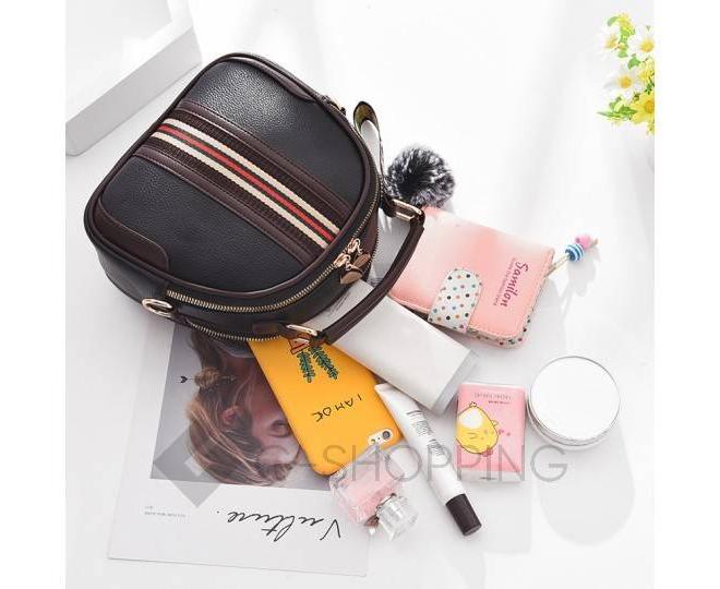 Женская повседневная черная сумка среднего размера на молнии C111-01, фото 7