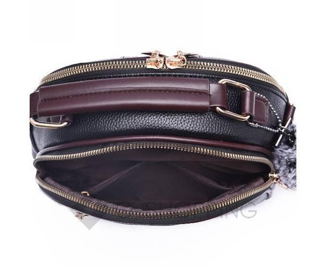 Женская повседневная черная сумка среднего размера на молнии C111-01, фото 10