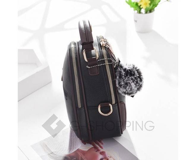 Женская повседневная черная сумка среднего размера на молнии C111-01, фото 4