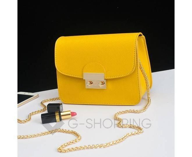 Женская желтая сумка кросс-боди на цепочке с портфельной застежкой C113-18, фото 8