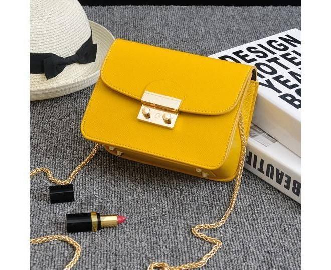 Женская желтая сумка кросс-боди на цепочке с портфельной застежкой C113-18, фото 5
