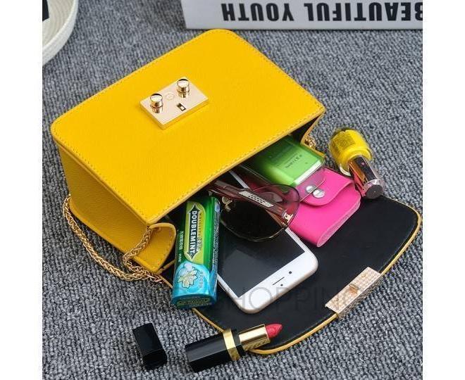 Женская желтая сумка кросс-боди на цепочке с портфельной застежкой C113-18, фото 6