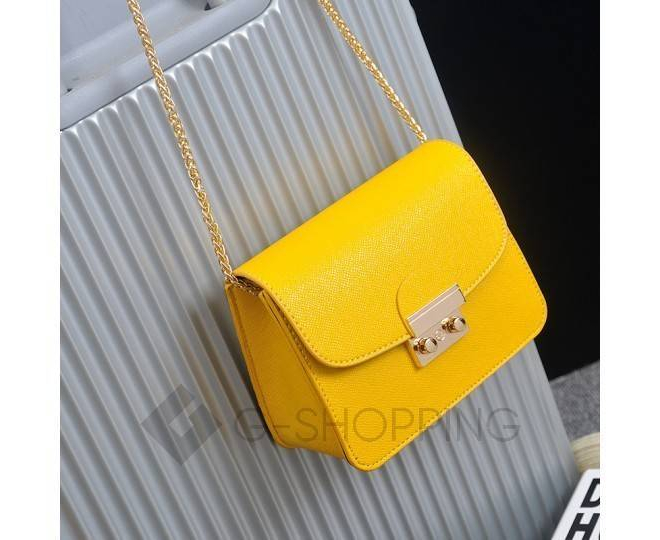 Женская желтая сумка кросс-боди на цепочке с портфельной застежкой C113-18, фото 7