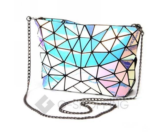 Женская серебристая сумка кросс-боди из треугольников на молнии C115-23, фото 1