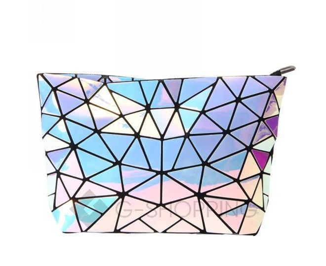 Женская серебристая сумка кросс-боди из треугольников на молнии C115-23, фото 3