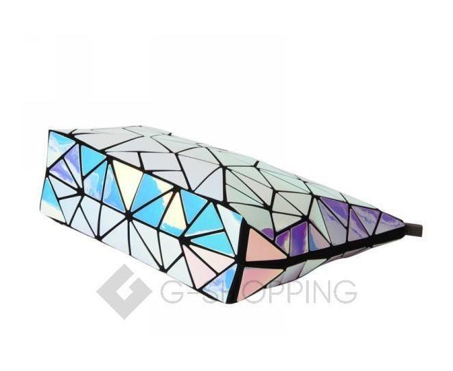 Женская серебристая сумка кросс-боди из треугольников на молнии C115-23, фото 2