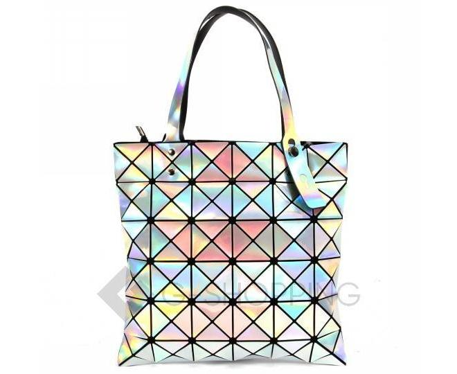 Женская серебристая сумка из треугольников среднего размера на молнии C116-23, фото 1