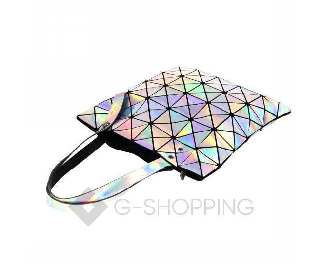 Женская серебристая сумка из треугольников среднего размера на молнии C116-23, фото 2
