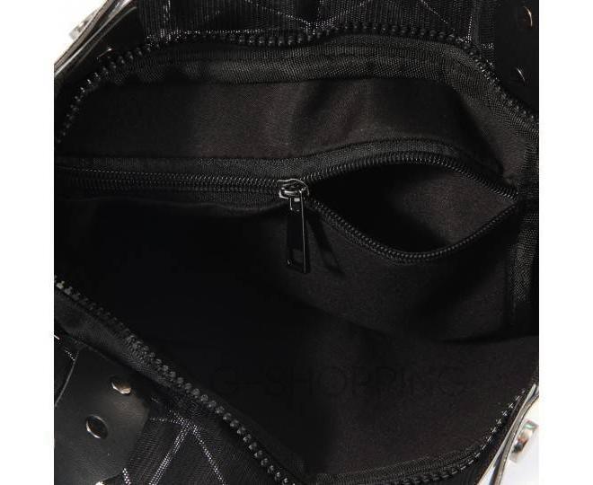 Женская серебристая сумка из треугольников среднего размера на молнии C116-23, фото 4