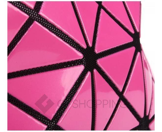 Женская розовая сумка на молнии с треугольниками среднего размера  C117-11, фото 8