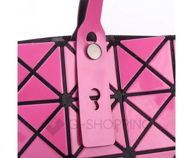 Женская розовая сумка на молнии с треугольниками среднего размера  C117-11, фото 9