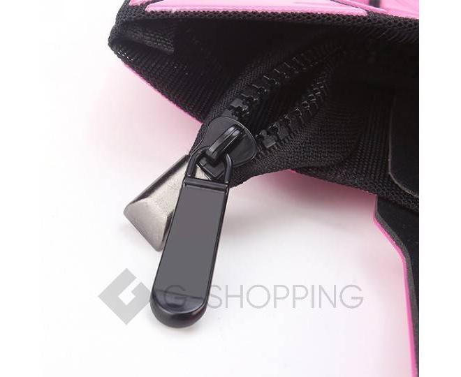 Женская розовая сумка на молнии с треугольниками среднего размера  C117-11, фото 6