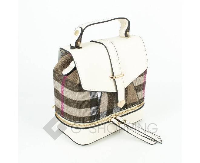 Женский мини-рюкзак из ткани в сочетании с экокожей Kingth Goldn C141-02, фото 2
