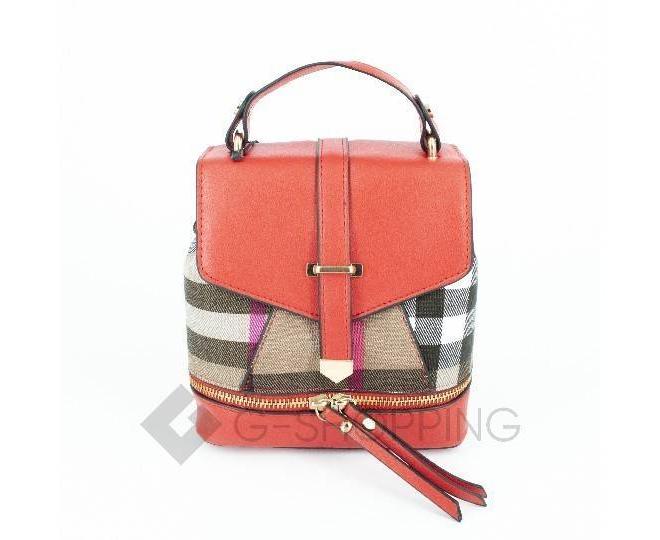 Женский мини-рюкзак из ткани в сочетании с экокожей оранжевый C141-08 Kingth Goldn, фото 1