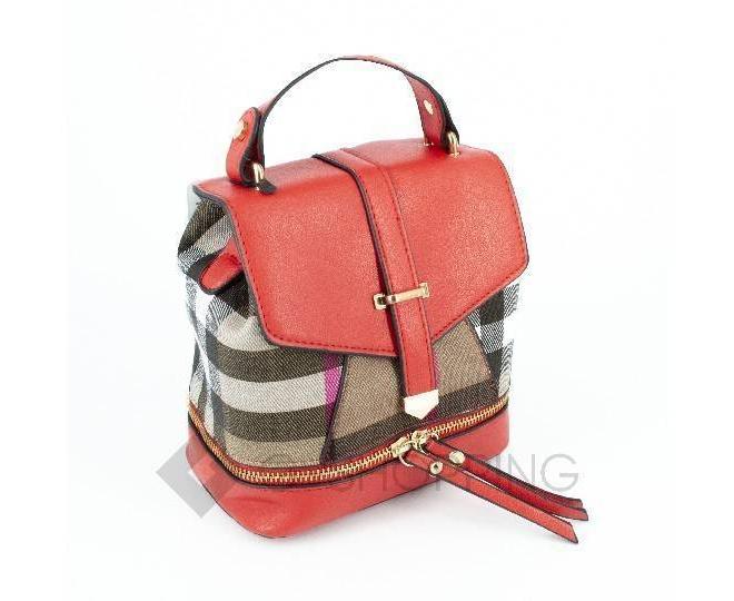 Женский мини-рюкзак из ткани в сочетании с экокожей оранжевый C141-08 Kingth Goldn, фото 2