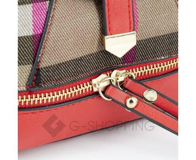 Женский мини-рюкзак из ткани в сочетании с экокожей оранжевый C141-08 Kingth Goldn, фото 3