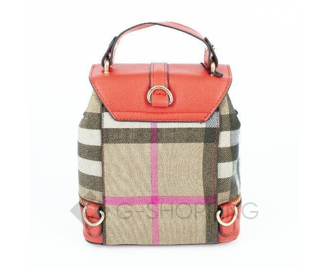 Женский мини-рюкзак из ткани в сочетании с экокожей оранжевый C141-08 Kingth Goldn, фото 5