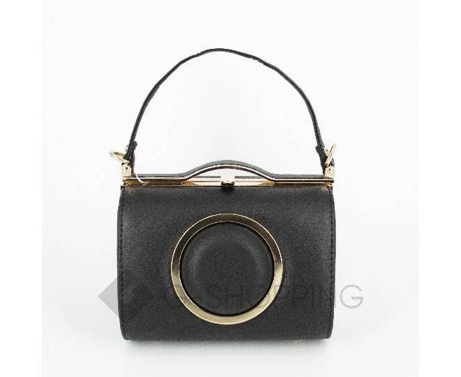 Женская маленькая черная сумка с застежкой фермуар C150-01 Kingth Goldn, фото 2