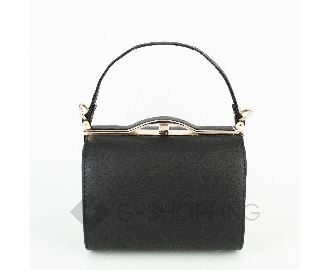 Женская маленькая черная сумка с застежкой фермуар C150-01 Kingth Goldn, фото 3