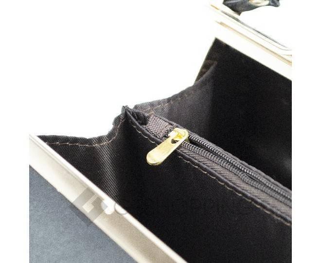 Женская маленькая черная сумка с застежкой фермуар C150-01 Kingth Goldn, фото 5