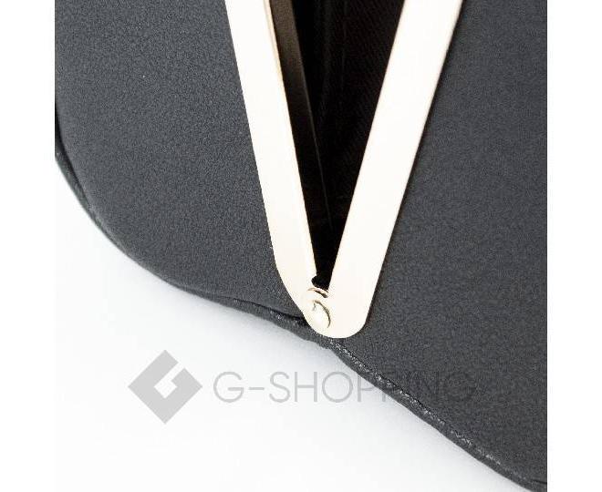 Женская маленькая черная сумка с застежкой фермуар C150-01 Kingth Goldn, фото 6