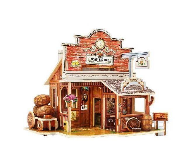 """Сборная деревянная модель """"Ковбойский домик"""" PT0036 Dolemikki, фото 1"""