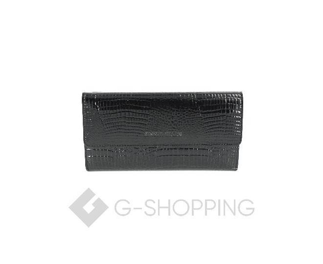 Женский кошелек из черной лакированной кожи с тиснением под рептилию WP13-465-6 KINGTH GOLDN, фото 1