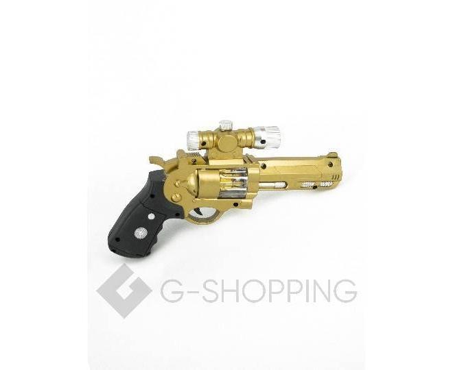 Пластиковый свето-звуковой игрушечный пистолет Dolemikki золотистый, фото 1