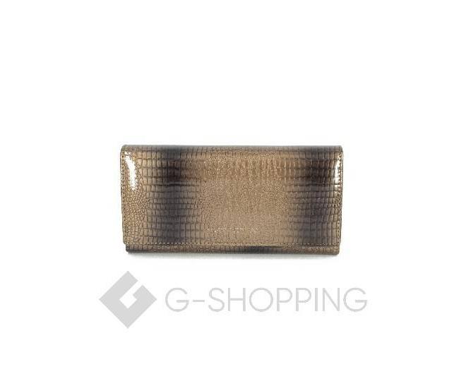Классический коричневый кошелек лаковый с тиснением под рептилию KINGTH GOLDN, фото 1