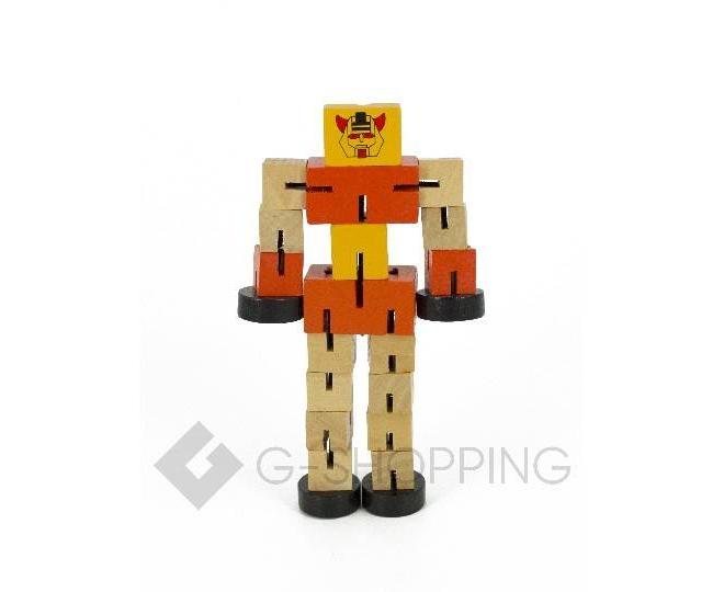 Деревянный робот-трансформер красный DOLEMIKKI, фото 1