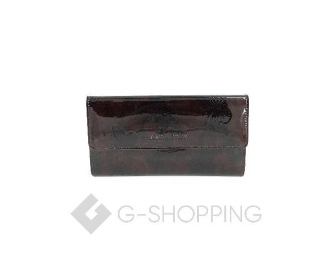 Женский лаковый кошелек с принтом бабочки коричневый WP13-465-1 KINGTH GOLDN, фото 1