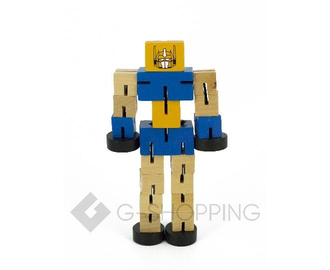 Деревянный робот-трансформер синий DOLEMIKKI, фото 1