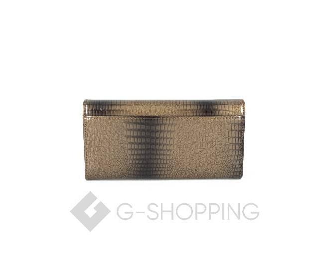 Классический коричневый кошелек лаковый с тиснением под рептилию KINGTH GOLDN, фото 2