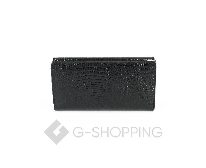 Женский кошелек из черной лакированной кожи с тиснением под рептилию WP13-465-6 KINGTH GOLDN, фото 2